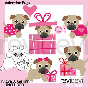 Valentine Pug Clip Art