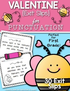 Valentine {Punctuation Exit Slips} for First Grade and Kindergarten