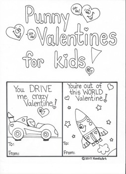 Valentine Puns for Kids to Color, Cut and Share