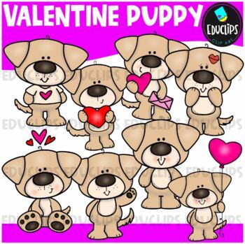 Valentine Puppy Clip Art Bundle