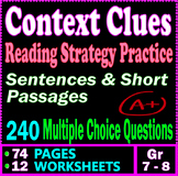 Context Clues Worksheets. Reading Strategies Practice. 240 Questions. Gr 7 - 8