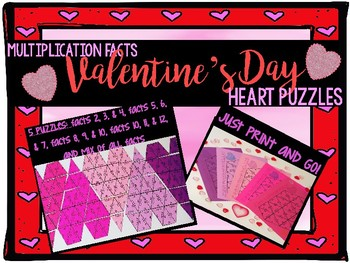 Valentine Puzzle Heart Multiplication Facts Center
