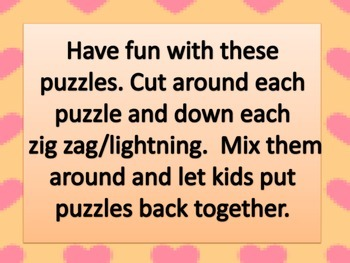 Valentine Puzzles with Beginning and Ending Sounds