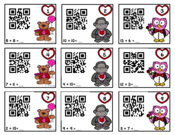 Valentine QR Addition Task Cards