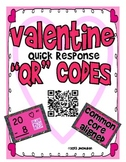 "Valentine Quick Response ""QR"" Codes  Self Checking Subtraction from 20 CCSS"