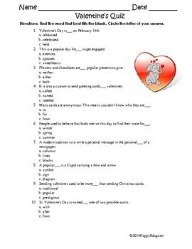 Valentine Quiz FREE - Choose the Right Word