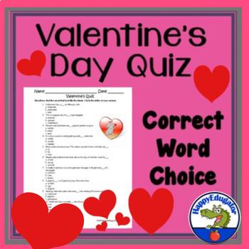 Valentine Quiz FREE - Choose the Right Word