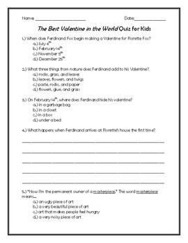 Valentine Foxes Quiz for Kids