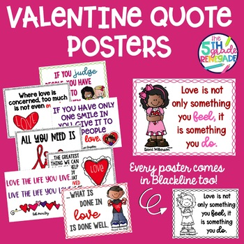 Valentine Quote Posters Love Theme Color And Ink Friendly Versions