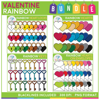 Valentine Rainbow Items Clip Art Bundle