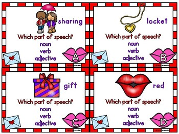 Valentine Read & Move Parts of Speech Grammar Activity Pack