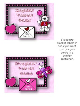 Valentine Regular and Irregular Vowel Games