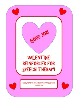 Valentine Reinforcer for Speech Therapy