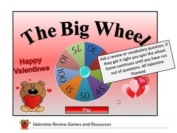 Valentine Review Games and Resources,Board Game Templates,