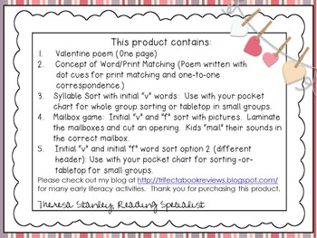 Valentine Rhyme and Activities:  PreK, Early Intervention, Speech & Language