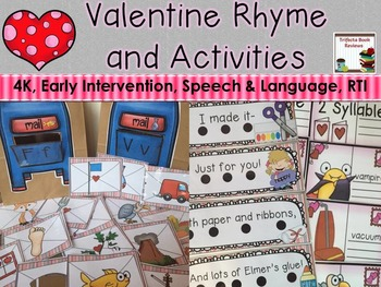 Valentine Rhyme and Activities:  PreK, Early Intervention,
