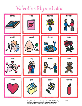 Valentine Rhymes Lotto Game