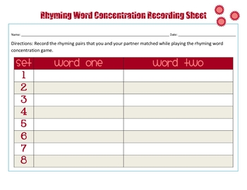 Valentine Rhyming Word Concentration