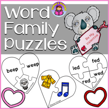 Valentine Rhyming Word Family Heart Puzzles