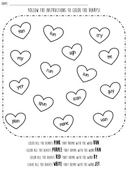 Valentine Rhyming Worksheets--Differentiated