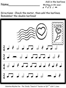 Music Worksheets:Music Math, Rhythmic Notation, Composing {Valentine Rhythm Fun}