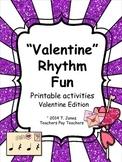 Music Worksheets:Math, Rhythmic Notation, Composing {Valen
