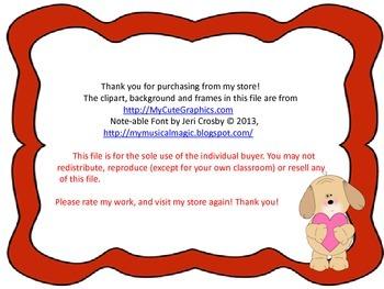 Valentine Rhythms Coloring Worksheet