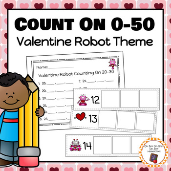 Valentine Robot Count On Strips and Worksheets - S