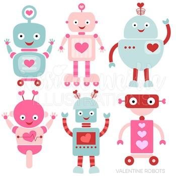 Valentine Robots Cute Digital Clipart, Valentine Clip Art
