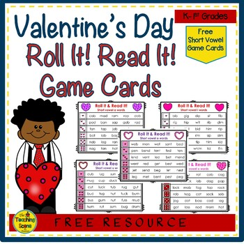 Valentine's Day Roll It!  Read It! Short Vowels {FREE}