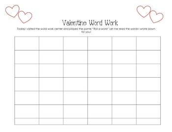 Valentine Roll a Word Game