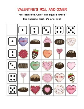 Valentine Roll and Cover/Roll and Color (open-ended games)