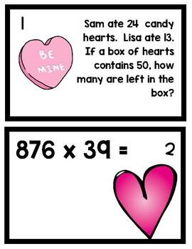 4th Grade Math Valentine SCOOT (Printables) Task Cards