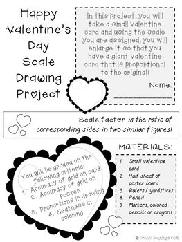 Valentine Scale Drawing Math Project