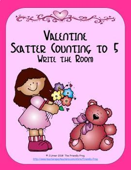 Valentine Scatter Counting to 5: Write the Room