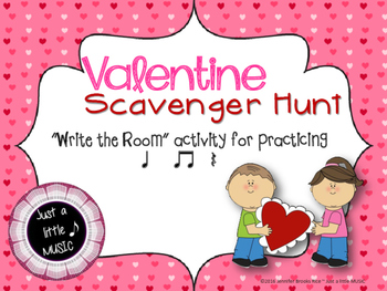"Valentine Scavenger Hunt--""Write the Room"" activity for ta"