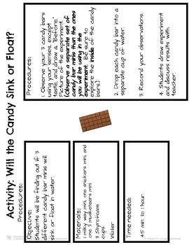 Valentine Science: Candy Bar Sink or Float Test!
