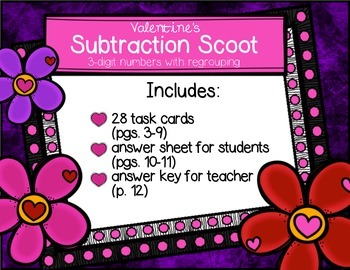 Valentine Scoot Three-Digit Subtraction with Regrouping