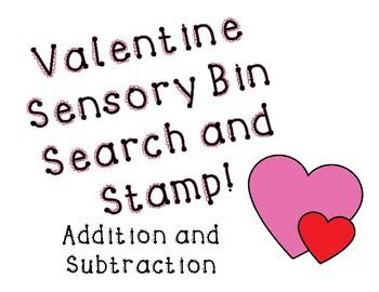 Valentine Sensory Bin Addition and Subtraction