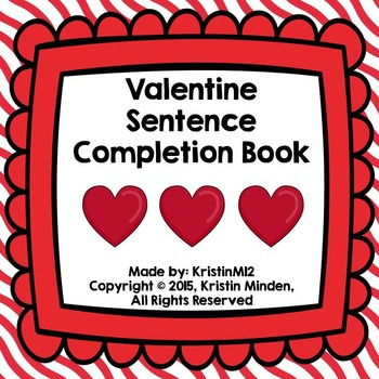 Valentine Sentence Completion Book