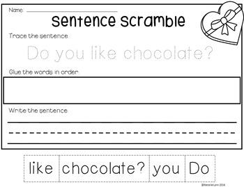 Valentine Sentence Scrambles