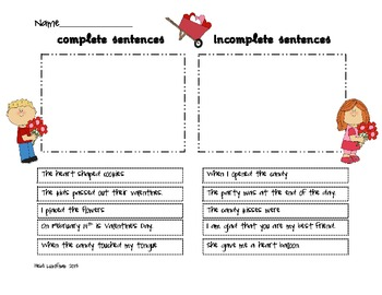 Valentine Sentences for 1st and 2nd Grade