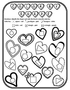Valentine Shapes Valentines Day Shape Color Valentines Shape Valentines Day