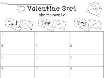 Valentine Short Vowel Word Family Sorts