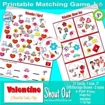 Valentine Shout Out Bundle, Spot the Match + I Spy Games +  Box
