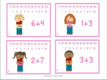 Valentine Shuffle (Addition & Subtraction with Number Lines)