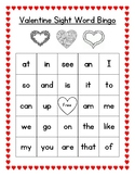 Valentine Sight Word Bingo