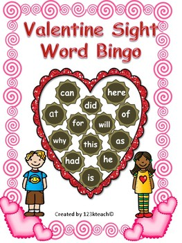 Valentine Sight Word Bingo Fun Common Core RF.K.3 & RF.1.3