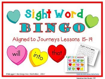 Valentine Sight Word Bingo Games Aligned to Journeys Lessons 15-20