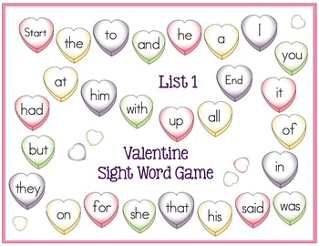 Sight Word Game Boards for Valentine's Day